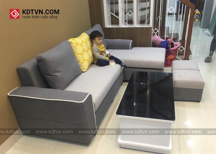 sofa nỉ phòng khách được sử dụng phổ biến