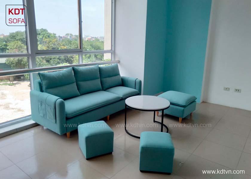 Sofa nỉ đẹp hiện đại màu xanh bích ngọc