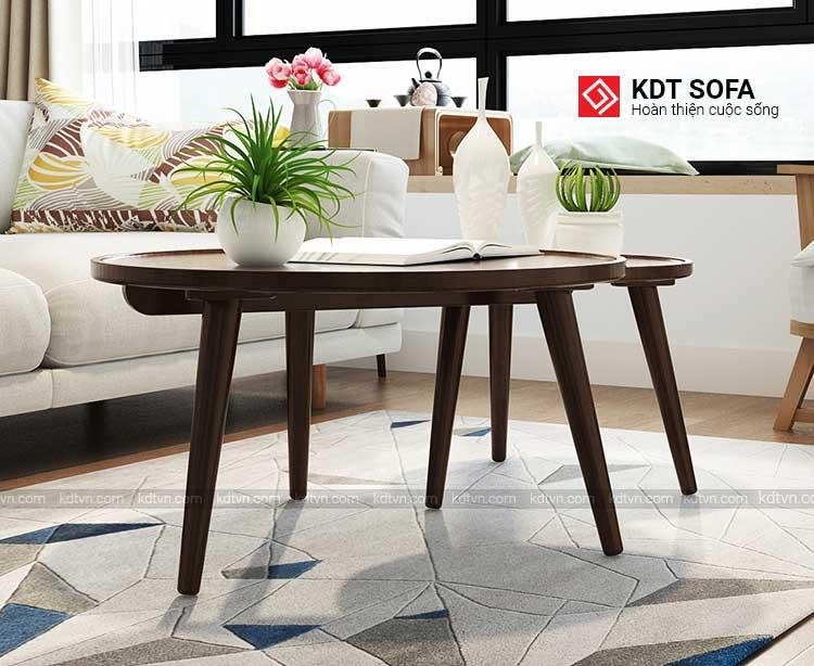 Bàn trà đôi tròn, bàn sofa đôi gỗ sồi sang trọng trong phòng khách