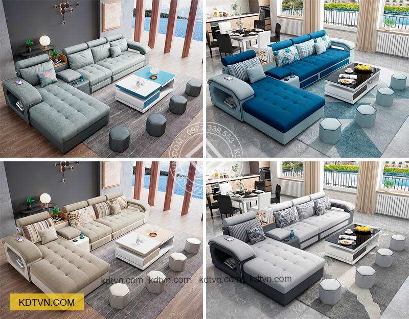 Mẫu sofa nỉ phòng khách KD029