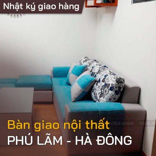 Bàn giao ghế sofa nỉ cho chị Hà ở Phú Lãm, Hà Đông