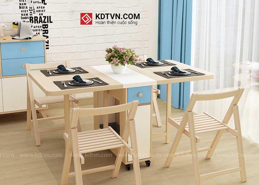 bàn ăn thông minh 4 ghế gấp KDBA07