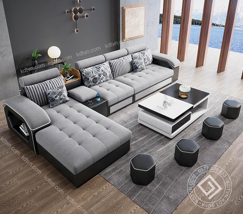 Mẫu sofa nỉ cải da phòng khách KD029