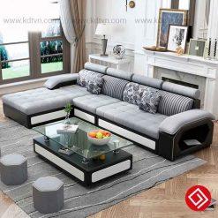Sofa nỉ màu đen ghi KD029