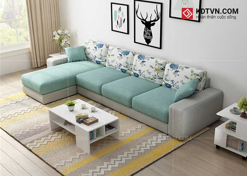 Sofa nỉ cho phòng khách rộng hiện đại