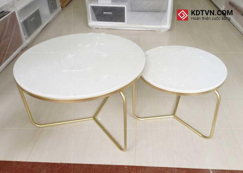 bàn trà đôi tròn kim loại