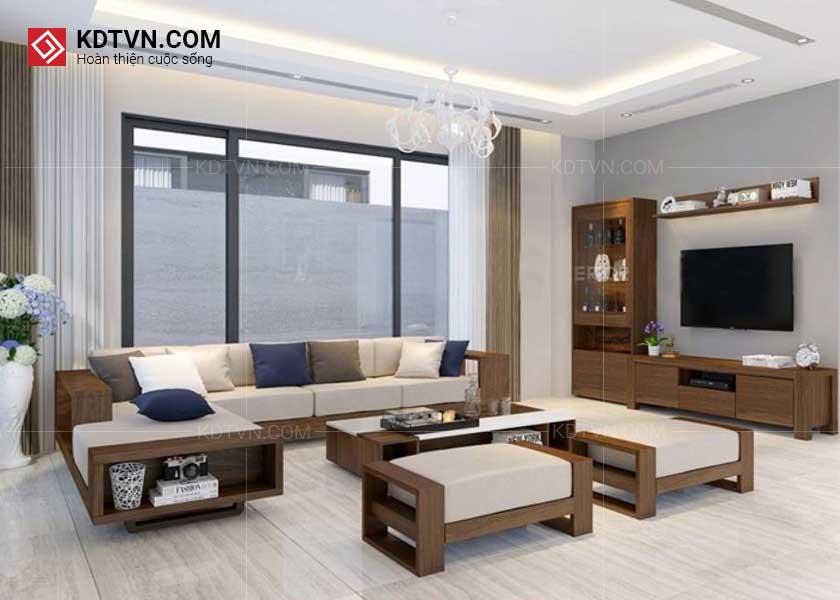 Ghế sofa gỗ phòng khách rộng