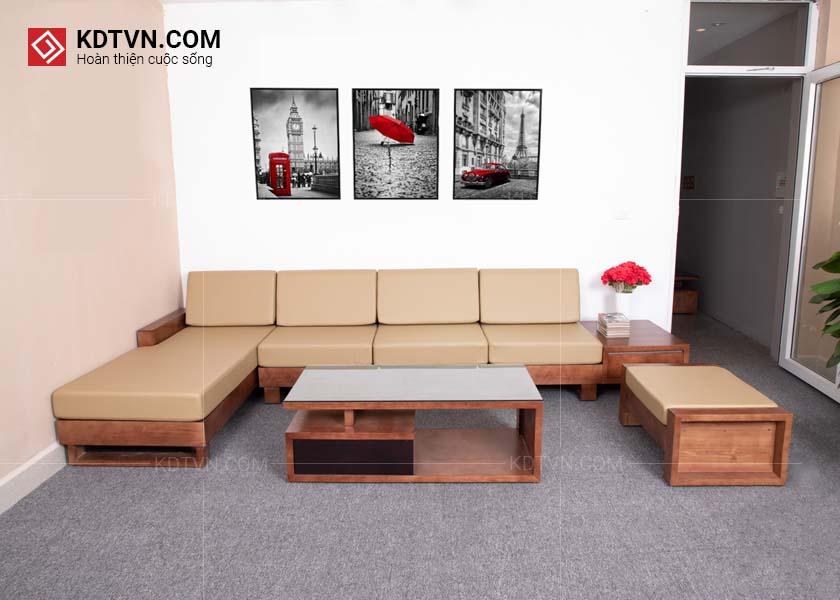 Bộ ghế sofa gỗ đẹp phòng khách rộng