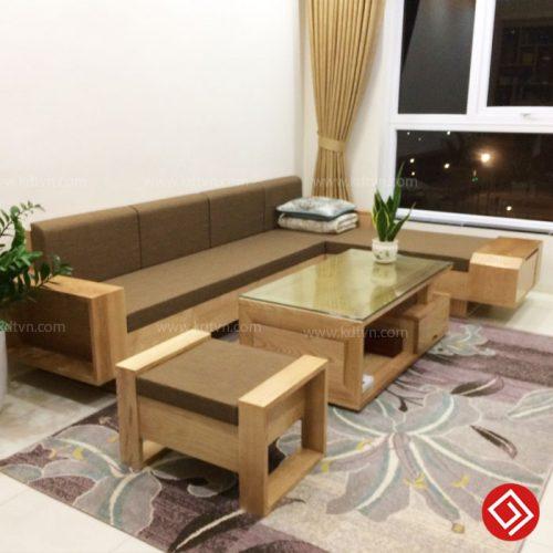 Sofa gỗ Sồi Nga tự nhiên KD505