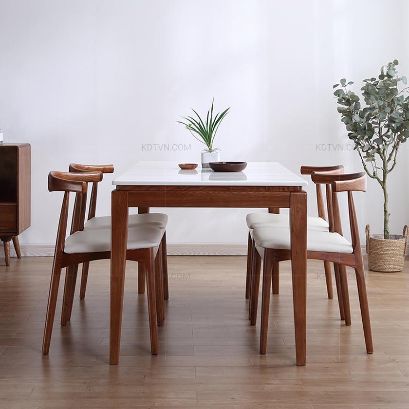 Bàn ghế ăn mặt đá hình chữ nhật
