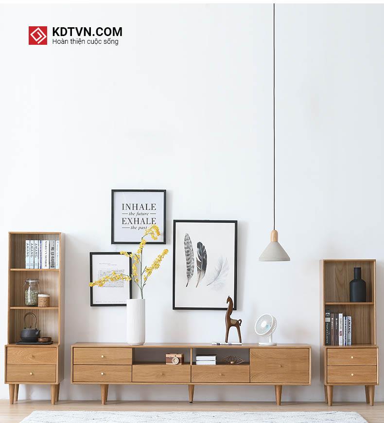 Kệ tivi gỗ tự nhiên kèm theo tủ táp hai bên