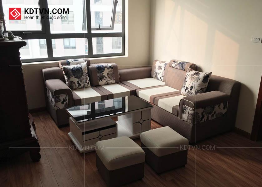 Sofa nỉ và bàn sofa kính đen