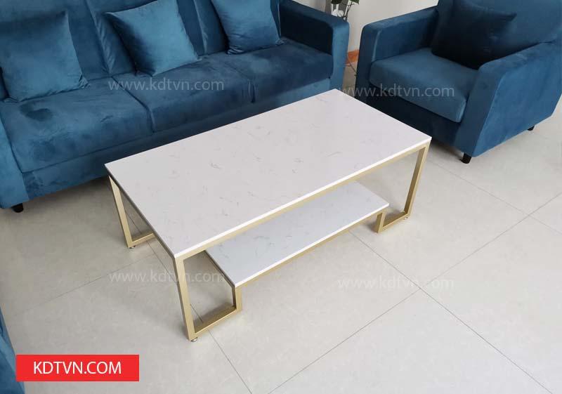 bàn sofa khung sắt mặt đá mạ vàng