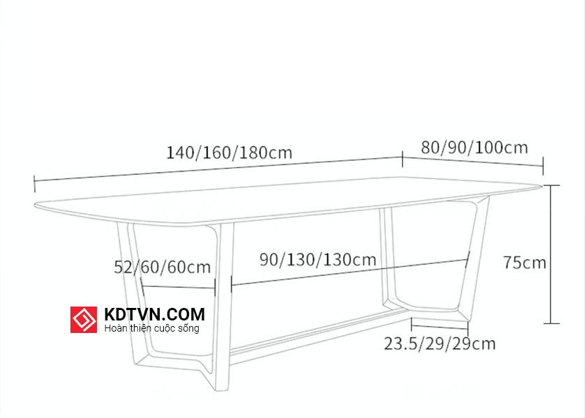 Kích thước bàn ăn concorde