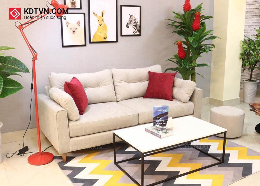 Sofa văng nỉ 2 chỗ ngồi và bàn trà