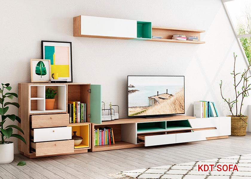 Kệ tivi và tủ táp sang trọng kèm ngăn kéo và hộc để đồ rất tiện ích.
