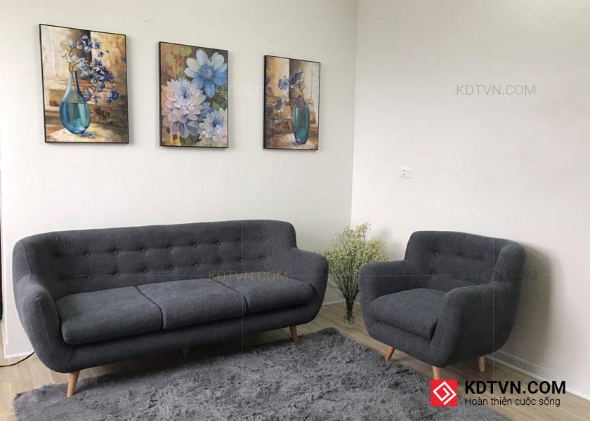 Sofa văng và ghế sofa đơn màu ghi xám
