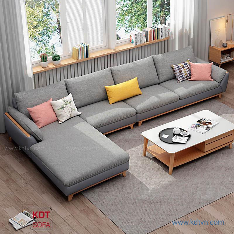 Sofa nỉ da phòng khách rộng hiện đại KD182