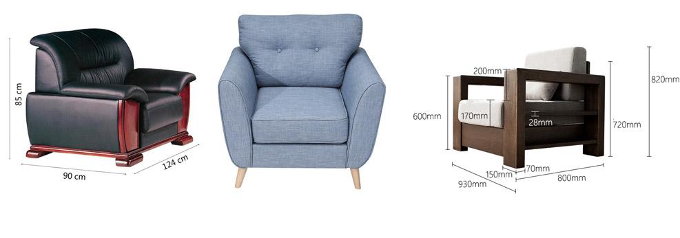Kích thước tiêu chuẩn ghế sofa đơn