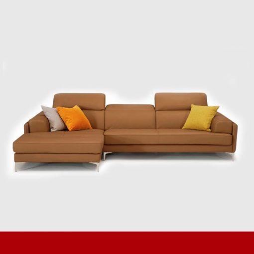 Sofa da góc chữ L màu da bò