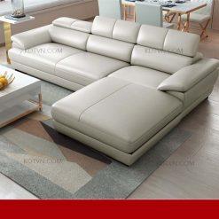 Sofa da góc chữ L hiện đại