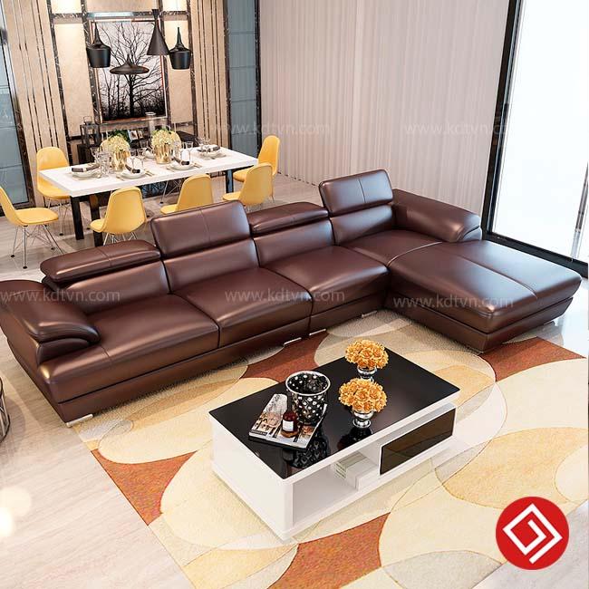 Sofa da cho phòng khách rộng hiện đại KD215