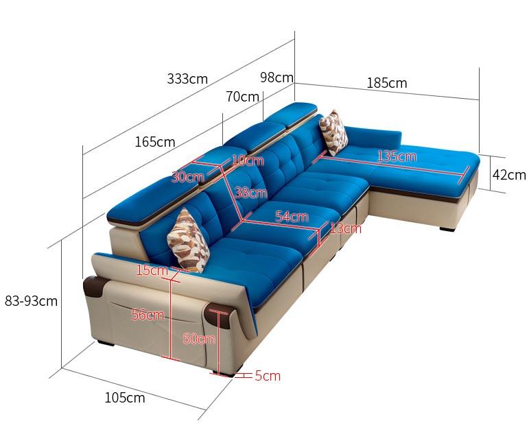 Kích thước sofa góc chữ L