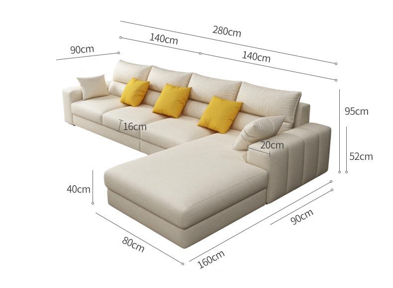 Kích thước sofa góc L phòng khách vừa và nhỏ