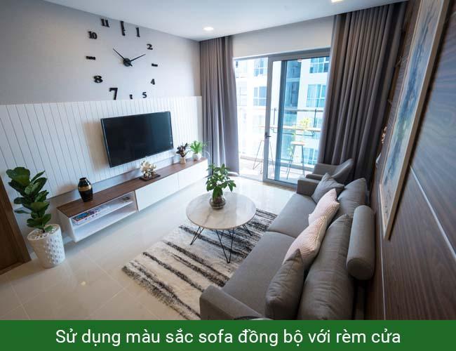Sofa màu ghi xám chung cư