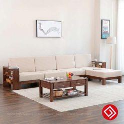Sofa gỗ góc L hiện đại