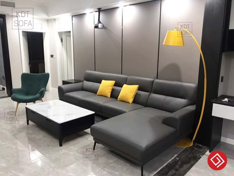 Bộ ghế sofa da góc L cho căn hộ cao cấp