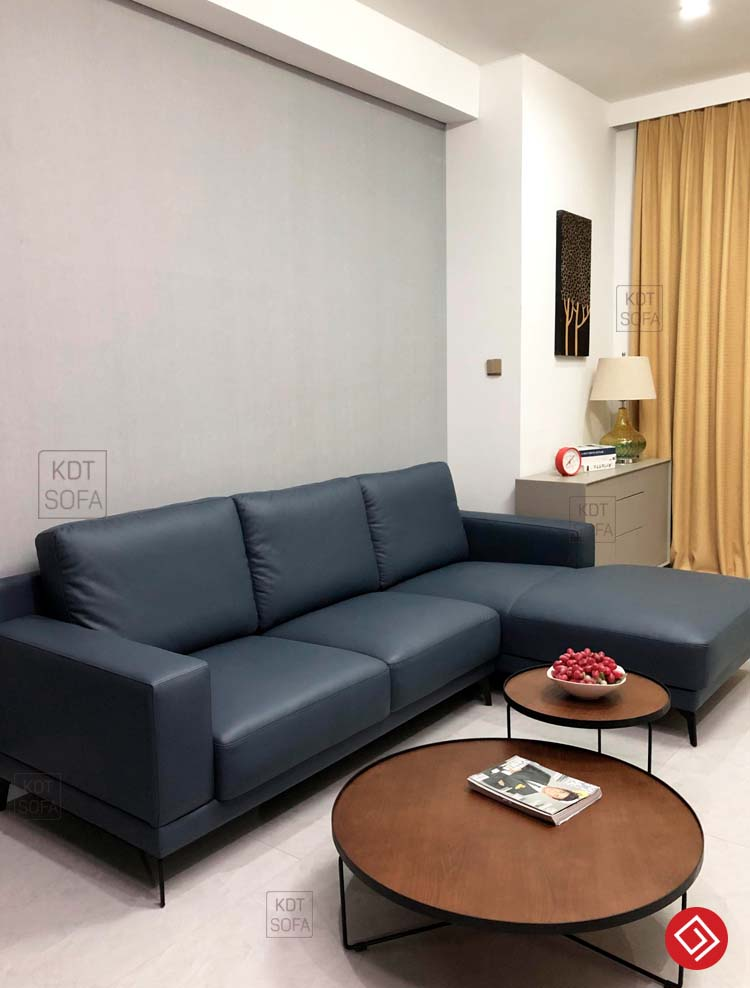 Mẫu sofa da góc L hiện đại