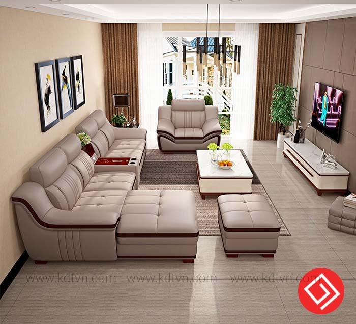Sofa da góc L nhà rộng
