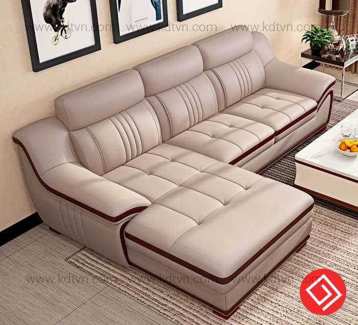 Sofa da góc L phòng khách nhỏ