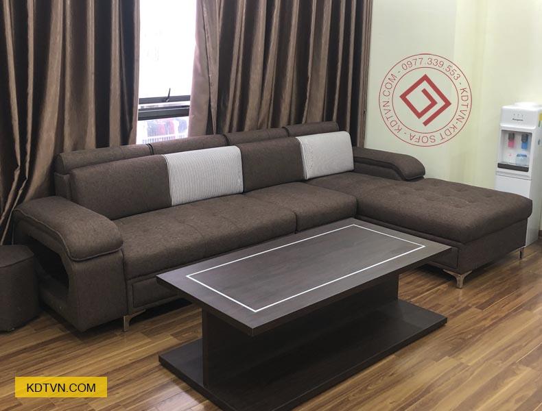 Sofa góc L màu nâu đẹp