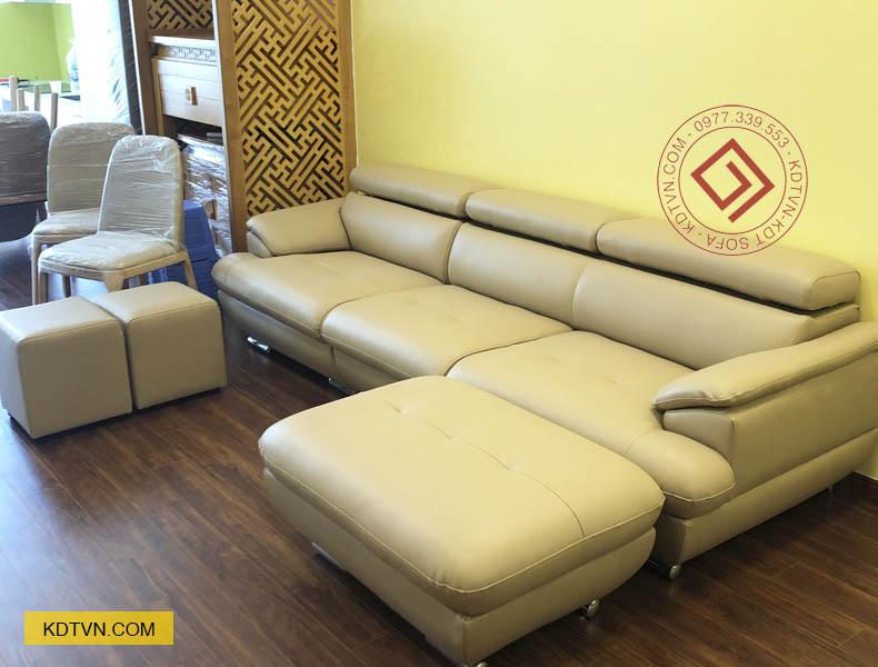 Sofa văng da kết hợp đôn to