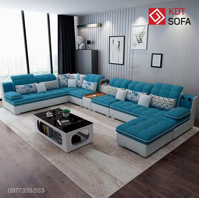 Ghế sofa chữ U màu xanh