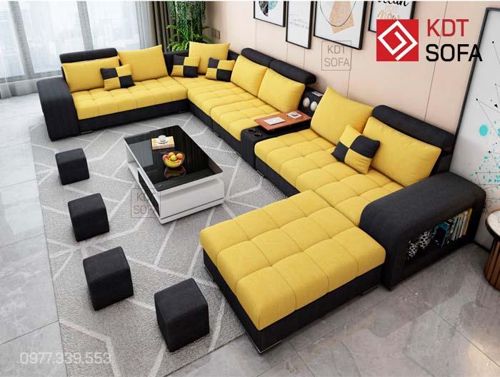 Sofa chữ U đen vàng