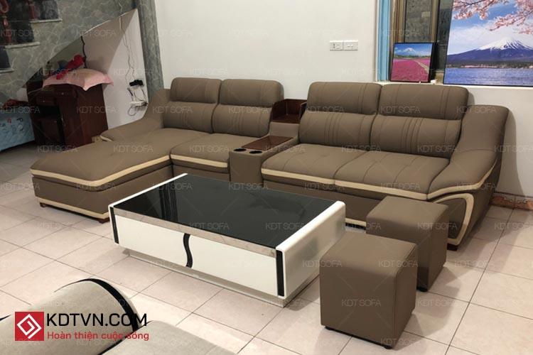 Sofa da góc L phòng khách rộng