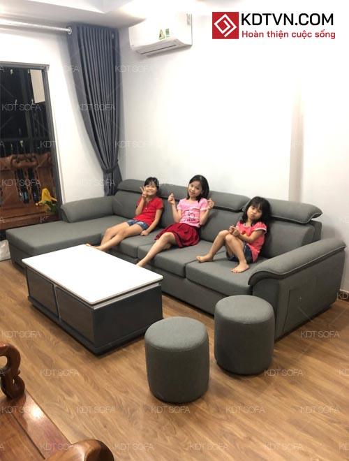 Sofa nỉ hiện đại màu ghi