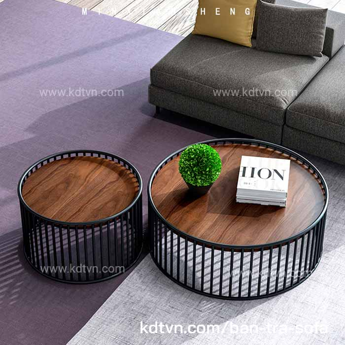 Bàn trà tròn đôi khung sắt đan dày