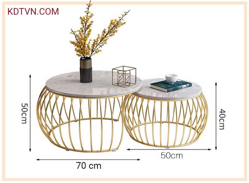 Kích thước bàn trà tròn đôi