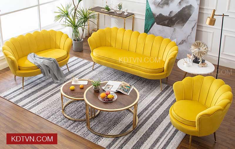 Sofa văng thuyền nỉ nhung KD019