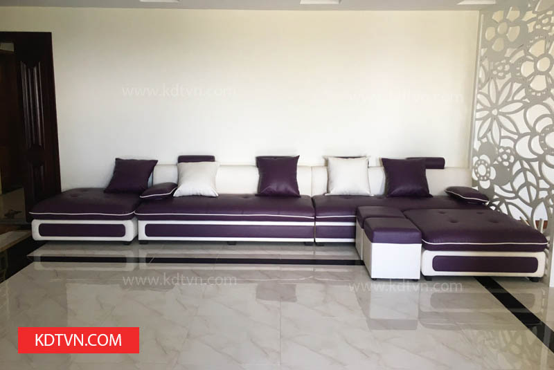 Sofa văng da màu tím