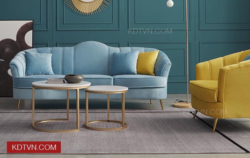 Sofa văng nỉ nhung màu xanh đẹp
