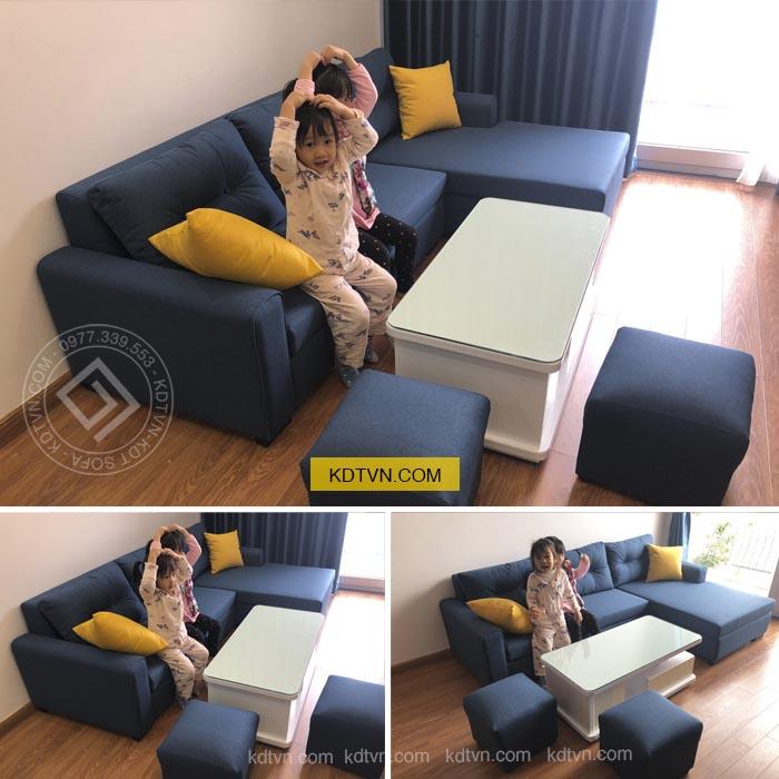 Sofa góc màu xanh KD031