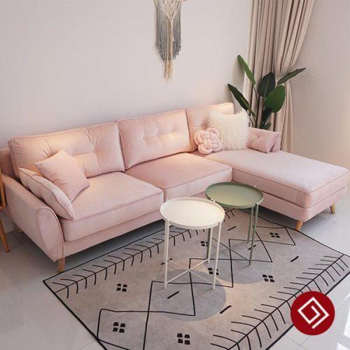 Ghế sofa nỉ nhung góc L hiện đại KD006A