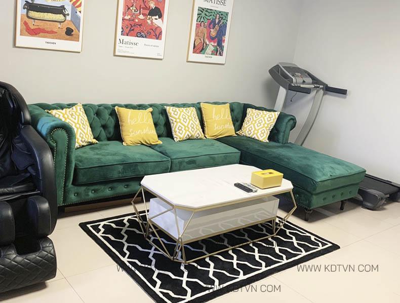 Sofa nỉ nhung đẹp hiện đại