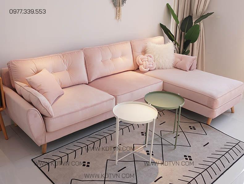 Sofa nỉ nhung màu hồng