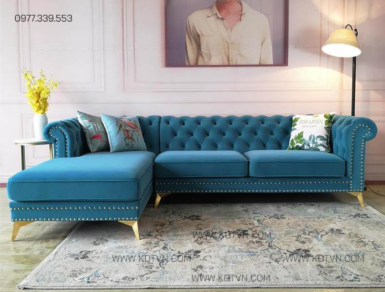 Sofa nỉ nhung màu xanh da trời